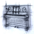 SOLD. Piano. Charcoal on paper. 40x60cm £520