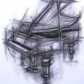 SOLD. Grand Piano.Charcoal on paper. 60x80cm £850