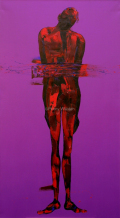 Jesus is placed in the tomb. Oil on Canvas 90x180cm